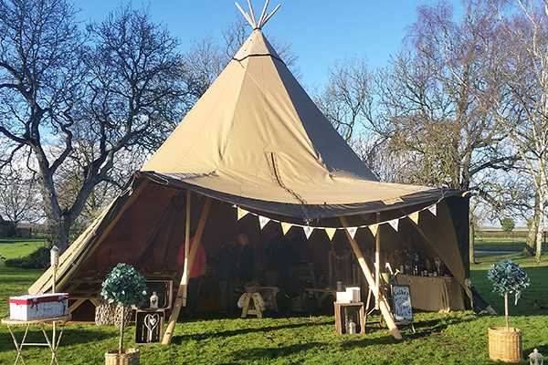 howell manor open day new year church tipi outside tent bunting