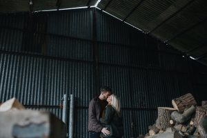 first wedding at howell manor engagement photoshoot inside barn