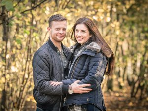 carissa and lewis engagement photograph in the woods